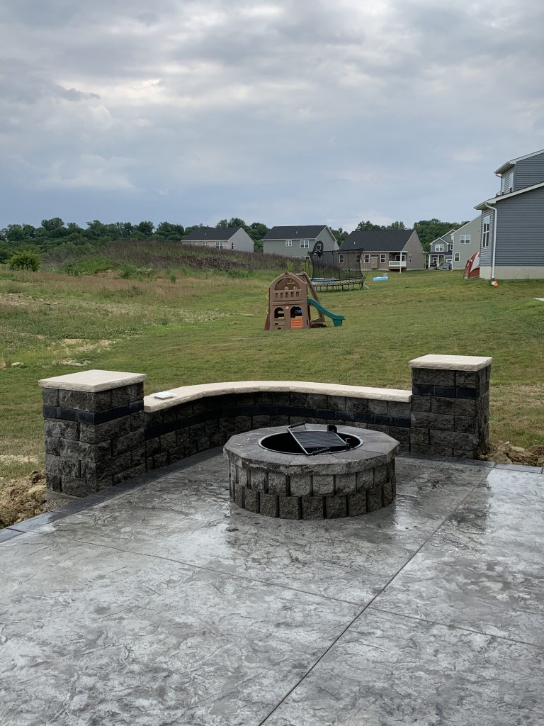 SOLIDForm Decorative Concrete firepit and seating wall